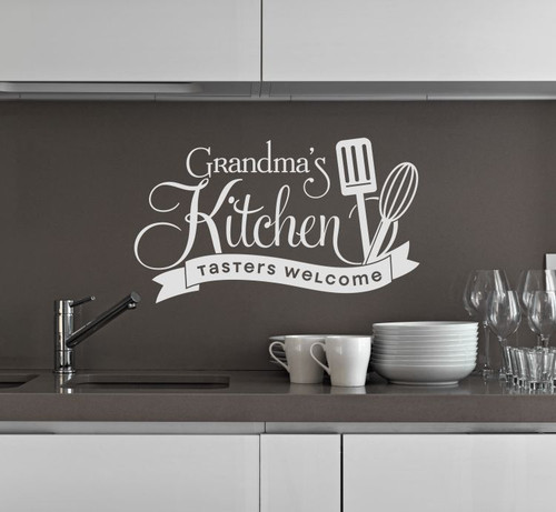 Grandma's Kitchen Tasters Welcome Vinyl Wall Decals Kitchen Decor Stickers-Light Gray
