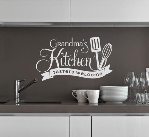 Grandma's Kitchen Tasters Welcome Vinyl Wall Decals Kitchen Decor Stickers-Light Gray