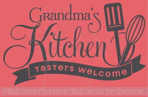 Grandma's Kitchen Tasters Welcome Vinyl Wall Decals Kitchen Decor Stickers