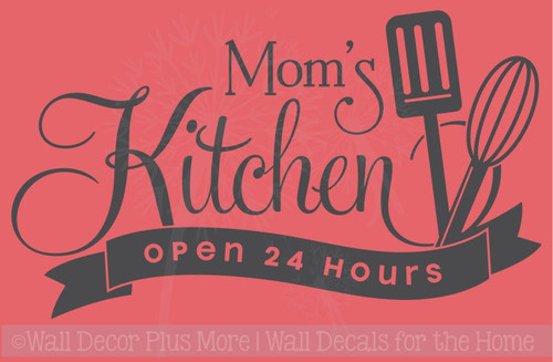 Mom's Kitchen Open 24 Hours Vinyl Family Wall Sticker Decals Kitchen Art