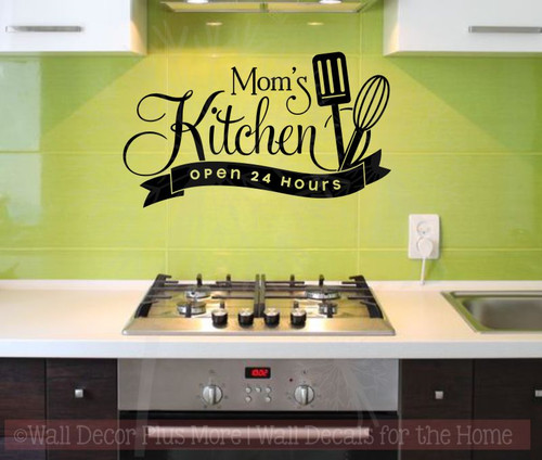 Mom's Kitchen Open 24 Hours Vinyl Family Wall Sticker Decals Kitchen Art-Black