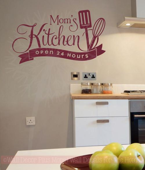 Mom S Kitchen Open 24 Hours Vinyl Family Wall Sticker Decals Art