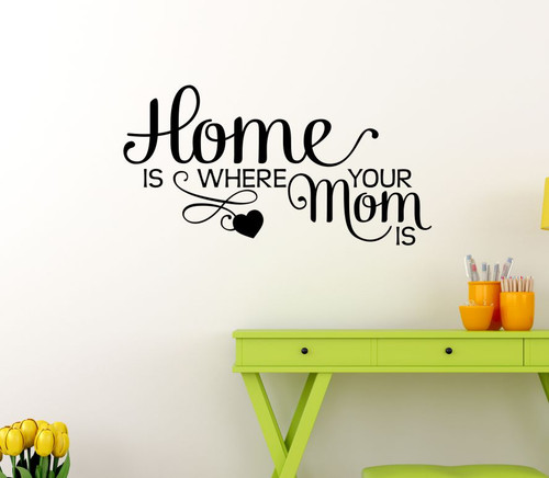 Home Is Where Mom Is Family Wall Decals Stickers Vinyl Letters Kitchen Quotes-Black
