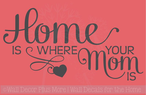 Home Is Where Mom Is Family Wall Decals Stickers Vinyl Letters Kitchen Quotes