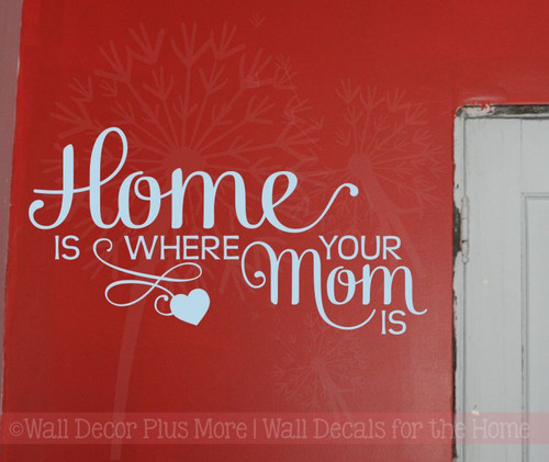 Home Is Where Mom Is Family Wall Decals Stickers Vinyl Letters Kitchen Quotes-Powder Blue
