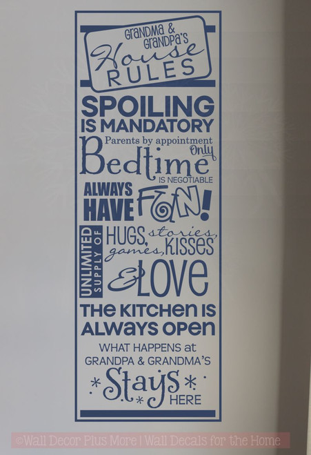 Grandma & Grandpa's House Rules Wall Decals Vinyl Letters Stickers Grandparent Gift-Deep Blue