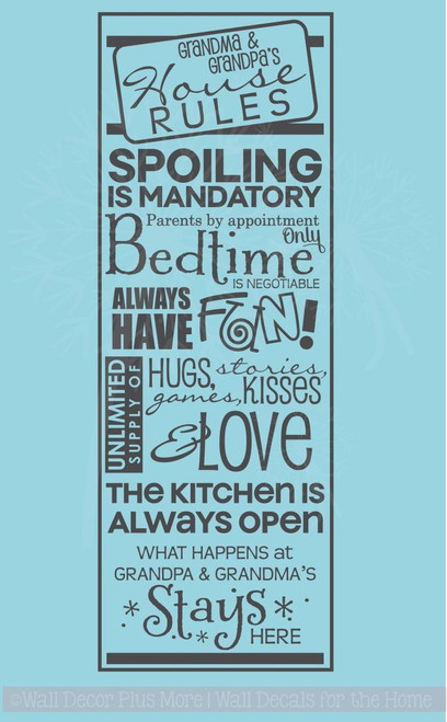Grandma & Grandpa's House Rules Wall Decals Vinyl Letters Stickers Grandparent Gift