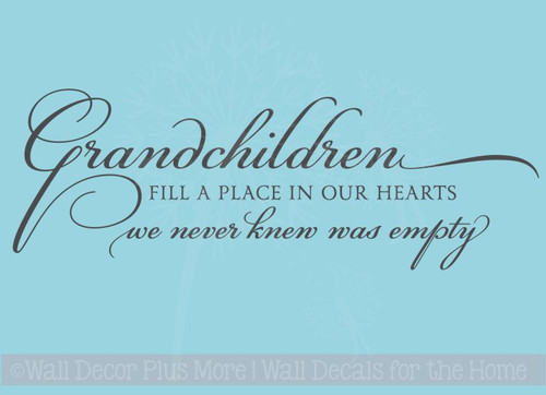 Grandchildren Fill Place in Our Hearts Family Wall Stickers Decals Vinyl Letters