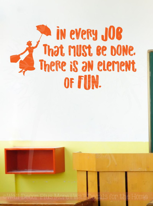 Every Job Element of Fun Quote Vinyl Letters Art Wall Decals Stickers Motivational-Orange