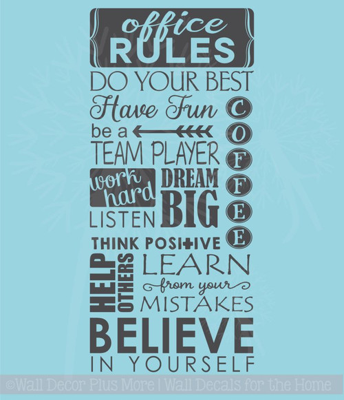 Office Rules Believe In Yourself Vinyl Lettering Art Wall Sticker Decals Work Sayings
