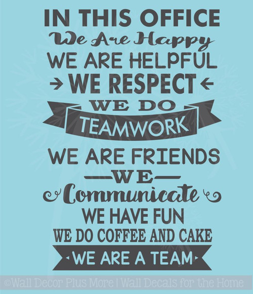 In This Office We Are Team Vinyl Decals Wall Stickers Art Work Decor Quotes
