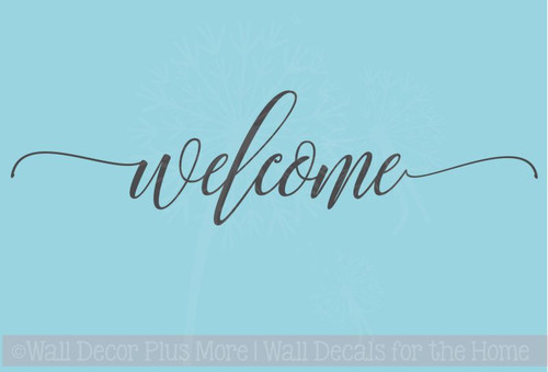 Welcome Hand Script Vinyl Letters Art Wall Stickers Decals Summer Porch Wall Words