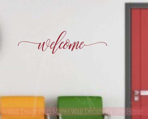 Welcome Hand Script Vinyl Letters Art Wall Stickers Decals Summer Porch Wall Words-Red