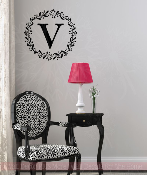 Laurel Wreath Monogram Letter Vinyl Stickers Wall Decals Custom Personalized Art Black
