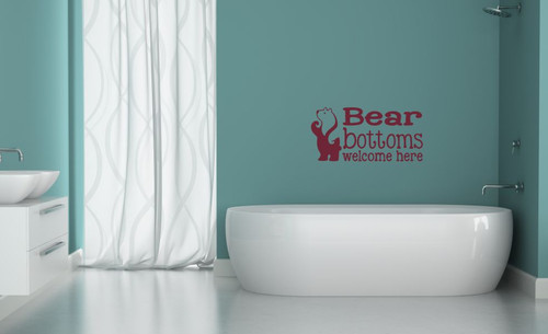 Bear Bottoms Welcome Here Vinyl Lettering Wall Art Decals Stickers Bathroom  Camper
