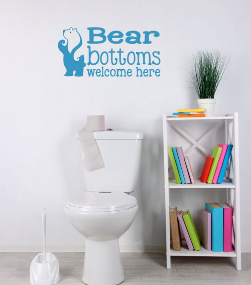 Bear Bottoms Welcome Here Vinyl Lettering Wall Art Decals Stickers Bathroom Camper-Bayou Blue
