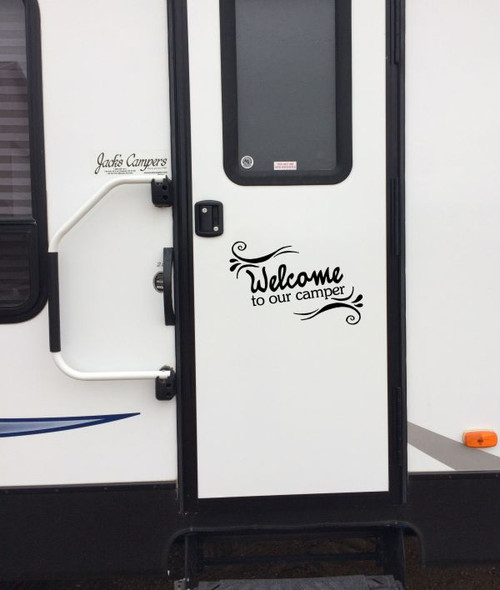 Welcome To Our Camper Quotes Vinyl Wall Decal Stickers for Motor-home RV Outdoor Use Black