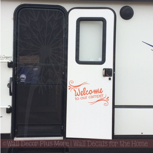 Welcome To Our Camper Quotes Vinyl Wall Decal Stickers for Motorhome RV-Coral