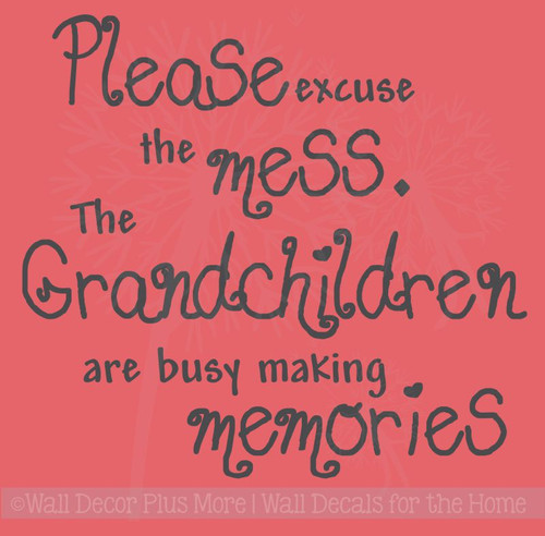 Excuse the Mess Grandchildren Making Memories Vinyl Wall Decals Stickers Quote