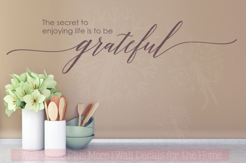 Secret To Enjoy Life, Remain Grateful Wall Sticker Decals Vinyl Lettering Art Inspirational Home Decor-Eggplant