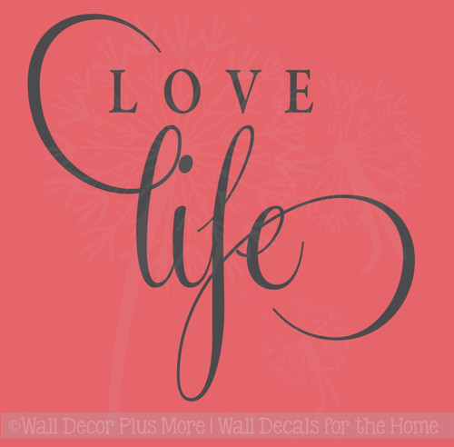 Love Life Inspirational Vinyl Lettering Stickers Wall Decals for Office Home Decor Quote Art