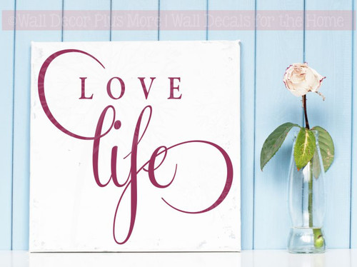 Love Life Inspirational Vinyl Lettering Stickers Wall Decals for Office Home Decor Quote Art-Berry