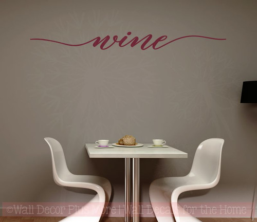 Wine Cursive Wall Sticker Decals Vinyl Lettering Art Kitchen Home Decor-Burgundy