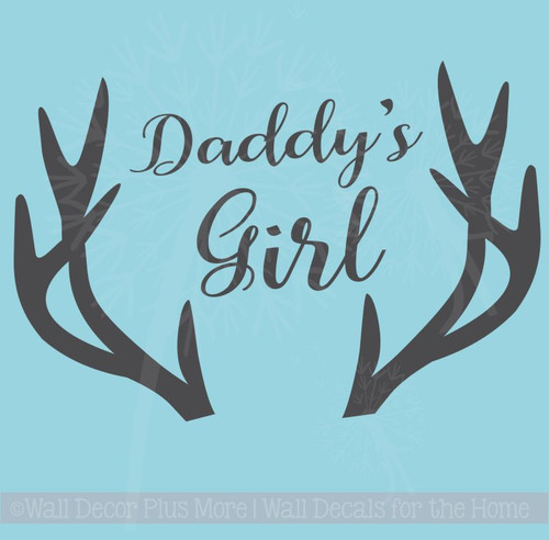 Daddy's Girl Antlers Wall Decals Vinyl Lettering Stickers Girl Nursery Decor Art