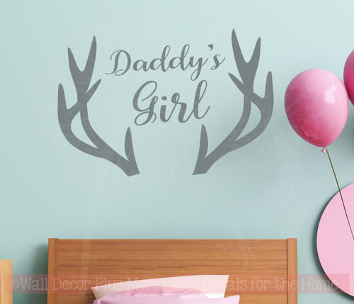 Daddy's Girl Antlers Wall Decals Vinyl Lettering Stickers Girl Nursery Decor Art-Storm Gray
