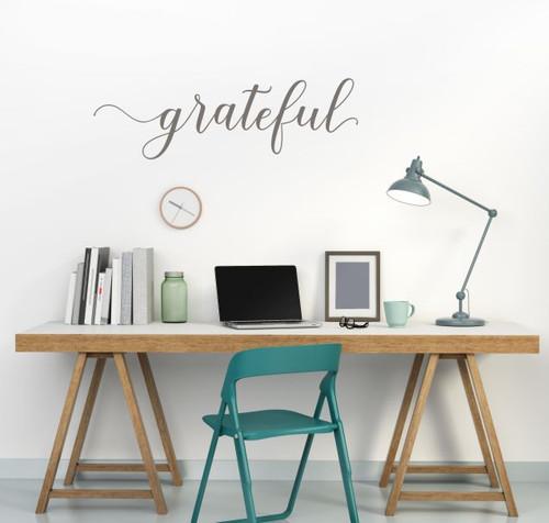 Grateful Cursive Lettering Modern Vinyl Decals Wall Sticker Art Kitchen