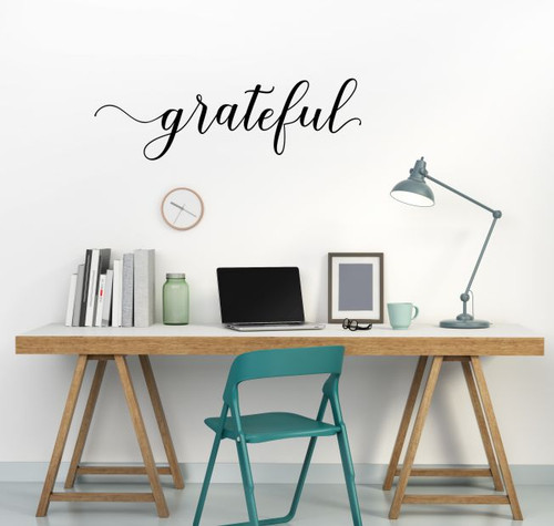 Grateful Cursive Lettering Modern Vinyl Decals Wall Sticker Art Kitchen Black 23x7-Inch