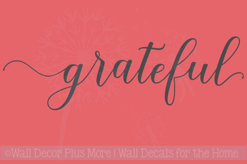 Grateful Cursive Lettering Modern Vinyl Decals Wall Sticker Art Kitchen