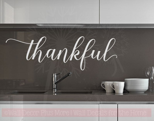Thankful Cursive Vinyl Lettering Art Wall Stickers Decals for Kitchen Home Decor Quote-Light Gray