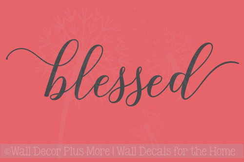Blessed Cursive Elegant Wall Stickers Decals Vinyl Lettering Kitchen Home Decor Art
