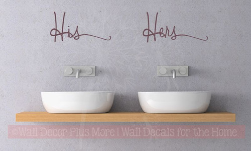His Hers Cursive Vinyl Lettering Art Bedroom Wall Stickers Decals Bathroom Decor-Eggplant