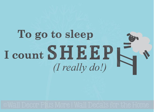 Kids Wall Sticker Really Count Sheep To Sleep Nursery Vinyl Lettering Decals