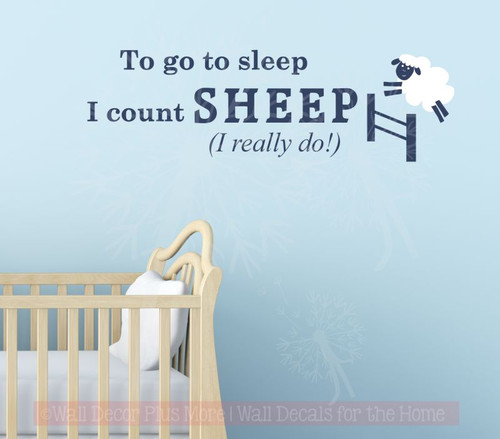 Kids Wall Sticker Really Count Sheep To Sleep Nursery Vinyl Lettering Decals-Deep Blue, White