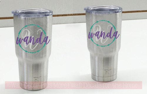 Tumbler Stickers Name Initial Arrows In Circle Vinyl Decals for Personalized Yeti RTIC-Glossy Purple, Middle Gray, Turquoise