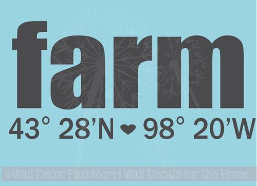 Custom Home Wall Stickers Farm Longitude Latitude Address Vinyl Letters Wall Decals