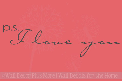 P.S. I Love You Wall Stickers Bedroom Vinyl Lettering Decals Nursery Decor Quote