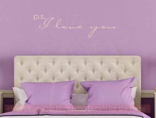 P.S. I Love You Wall Stickers Bedroom Vinyl Lettering Decals Nursery Decor Quote-Beige