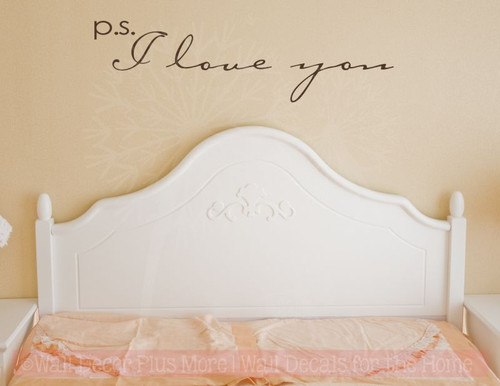 P.S. I Love You Wall Stickers Bedroom Vinyl Lettering Decals Nursery Decor Quote-Chocolate