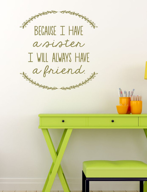 Sister Quotes Always A Friend Laurel Leaves Girls Vinyl Lettering Bedroom Wall Decal Stickers-Metallic Gold