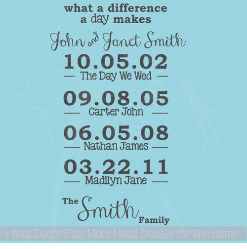 What A Difference A Day Makes Personalized Vinyl Lettering Decals Wall Sticker for Custom Home Decor