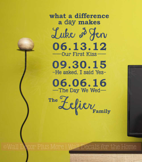What A Difference A Day Makes Personalized Vinyl Lettering Decals Wall Sticker for Custom Home Decor-Deep Blue