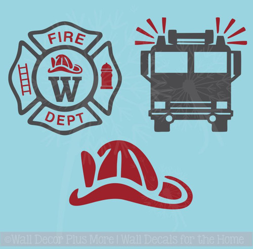 Firetruck Fireman Personalized Emblem Boys Wall Art Vinyl Lettering Decals Stickers