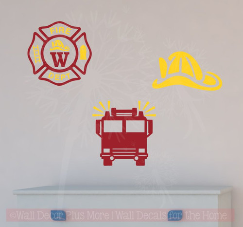 Firetruck Fireman Personalized Emblem Boys Wall Art Vinyl Lettering ...