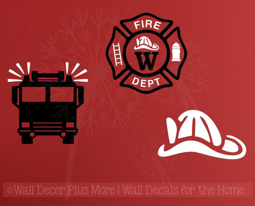 Firetruck Fireman Personalized Emblem Boys Wall Art Vinyl Lettering Decals Stickers-Black, White