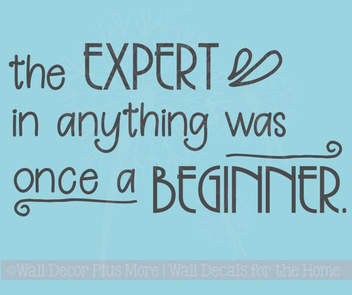Wall Sticker, Expert Was Once Beginner Vinyl Lettering Art Motivational
