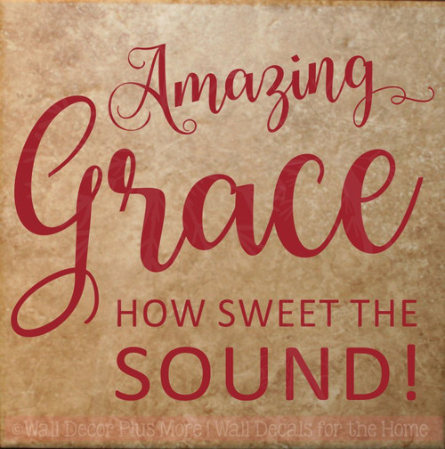 Amazing Grace Square Vinyl Letters Religious Kitchen Wall Decals Sticker-Red
